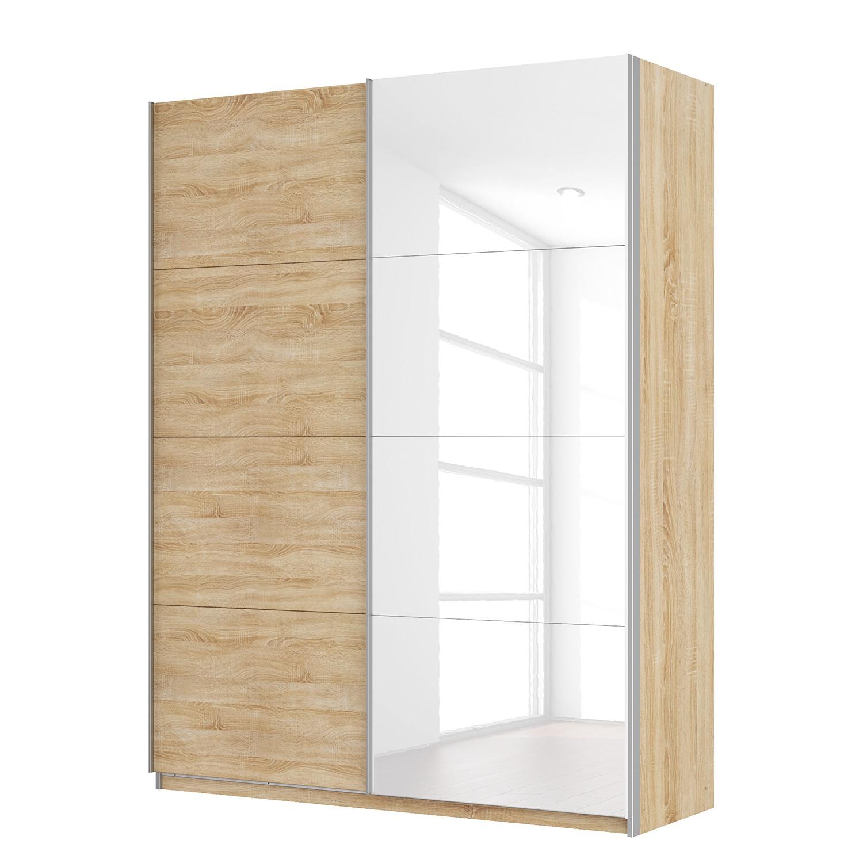 goedkoop Zweefdeurkast Skøp Sonoma eikenhouten look hoogglans wit 181cm 2 deurs 236cm Basic Skop