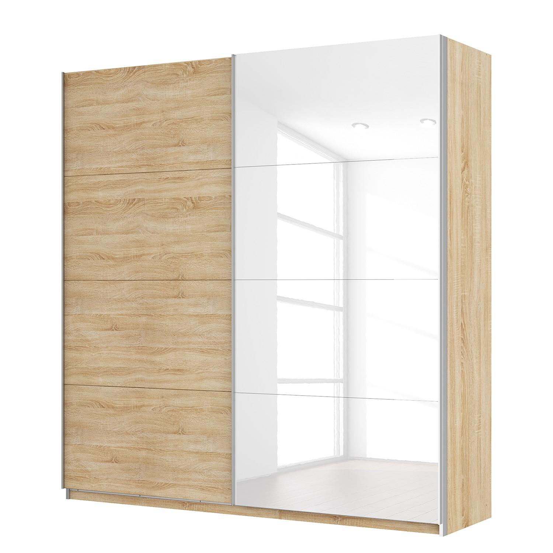goedkoop Zweefdeurkast Skøp Sonoma eikenhouten look hoogglans wit 225cm 2 deurs 236cm Basic Skop