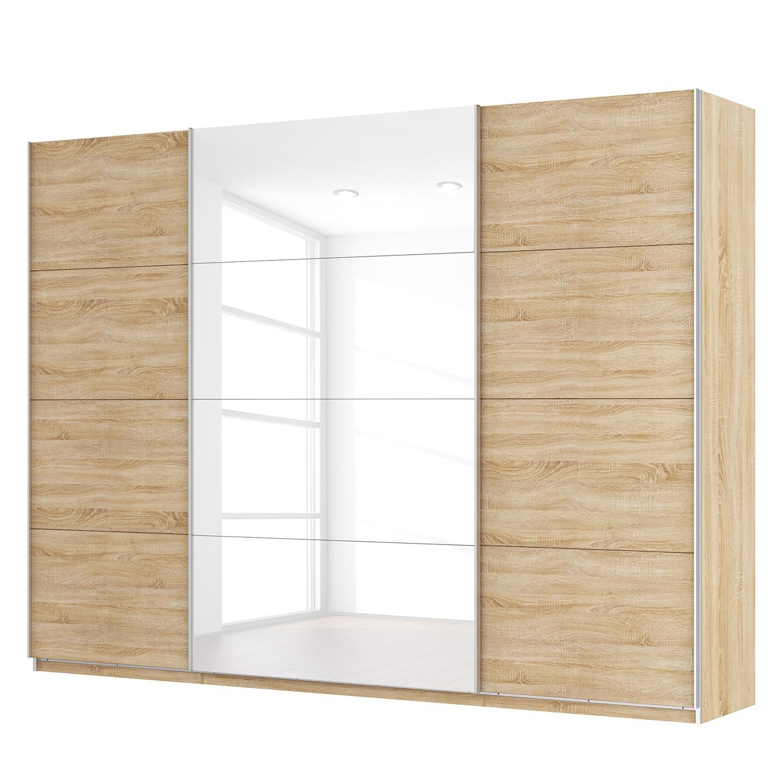 goedkoop Zweefdeurkast Skøp Sonoma eikenhouten look hoogglans wit 315cm 3 deurs 236cm Comfort Skop