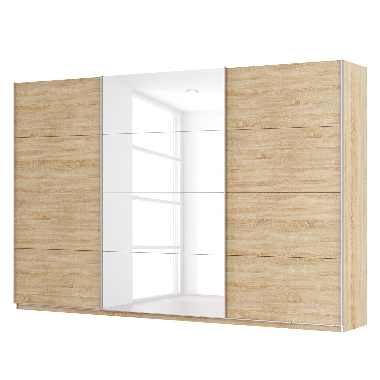 goedkoop Zweefdeurkast Skøp Sonoma eikenhouten look hoogglans wit 360cm 3 deurs 236cm Basic Skop
