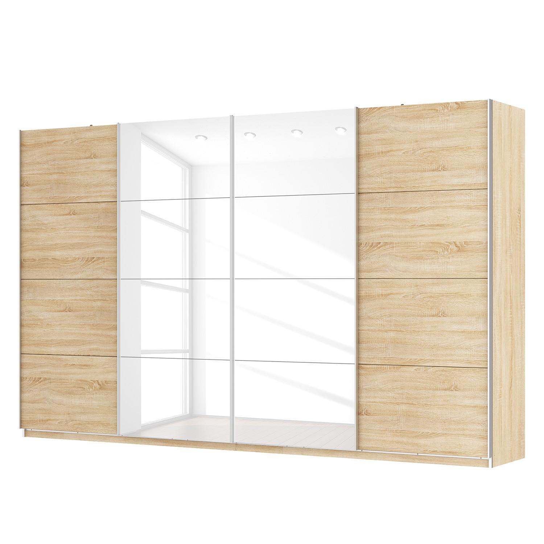 goedkoop Zweefdeurkast Skøp Sonoma eikenhouten look hoogglans wit 360cm 4 deurs 222cm Basic Skop