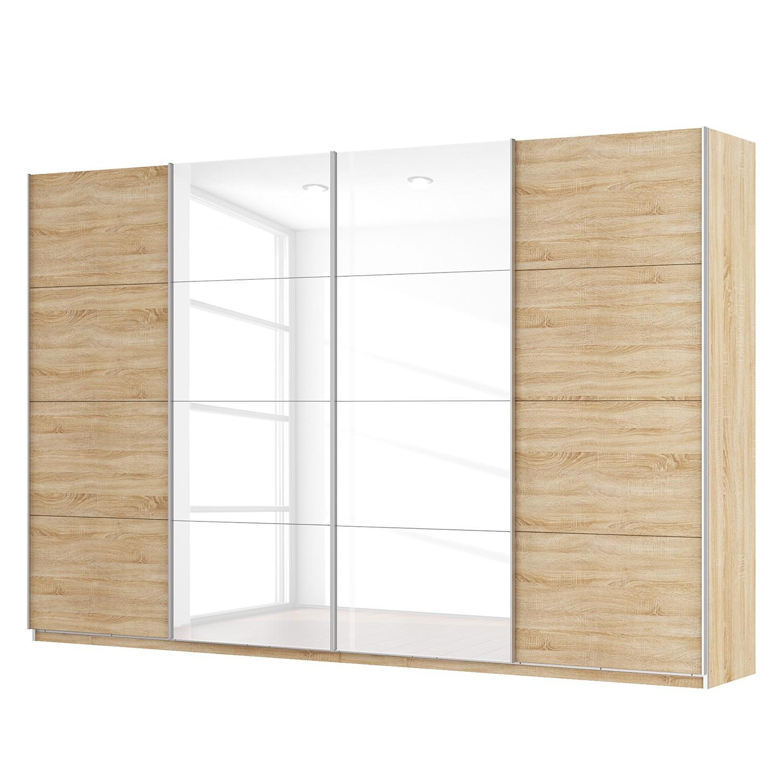 goedkoop Zweefdeurkast Skøp Sonoma eikenhouten look hoogglans wit 360cm 4 deurs 236cm Basic Skop