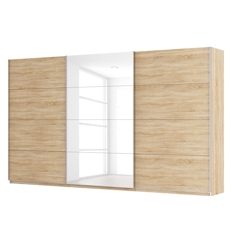 goedkoop Zweefdeurkast Skøp Sonoma eikenhouten look hoogglans wit 405cm 3 deurs 236cm Basic Skop