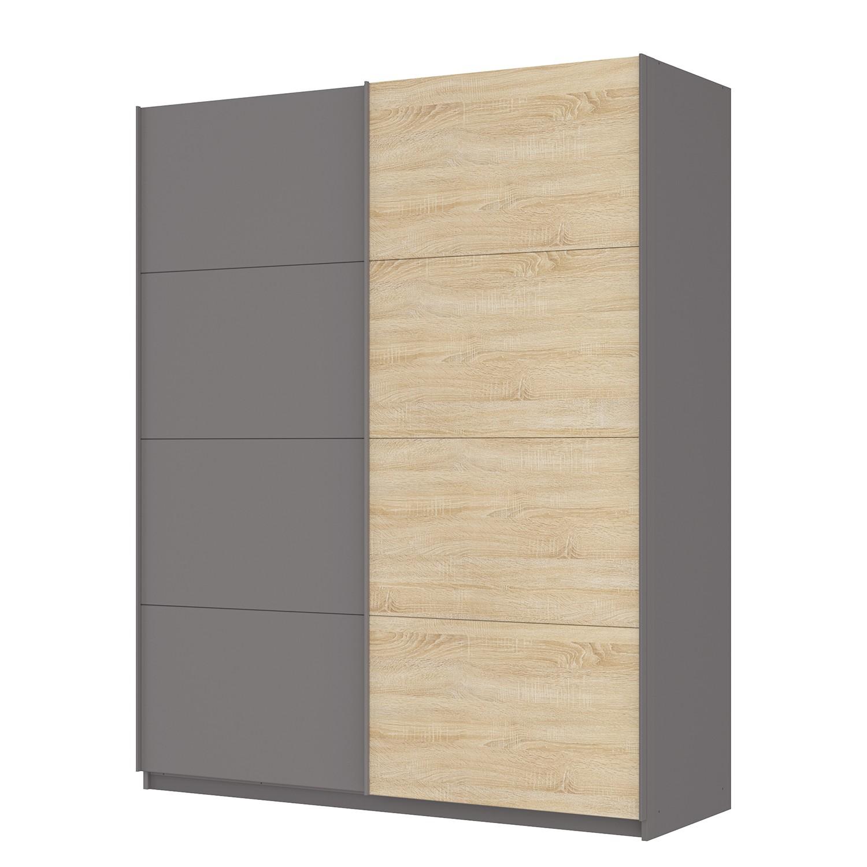 goedkoop Zweefdeurkast Skøp Grafietkleurig Sonoma eikenhouten look spiegel 181cm 2 deurs 222cm Premium Skop