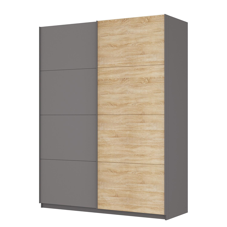 goedkoop Zweefdeurkast Skøp Grafietkleurig Sonoma eikenhouten look spiegel 181cm 2 deurs 236cm Basic Skop