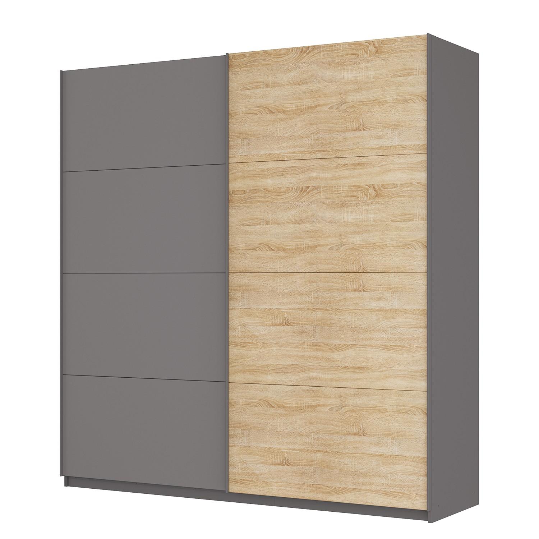 goedkoop Zweefdeurkast Skøp Grafietkleurig Sonoma eikenhouten look spiegel 225cm 2 deurs 236cm Basic Skop