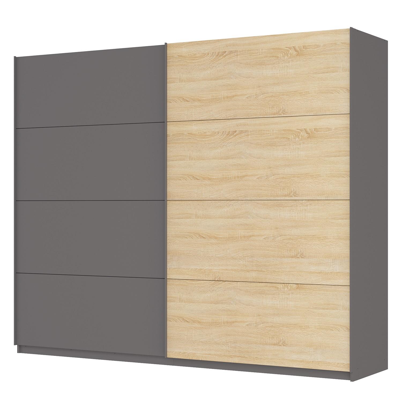 goedkoop Zweefdeurkast Skøp Grafietkleurig Sonoma eikenhouten look spiegel 270cm 2 deurs 222cm Premium Skop