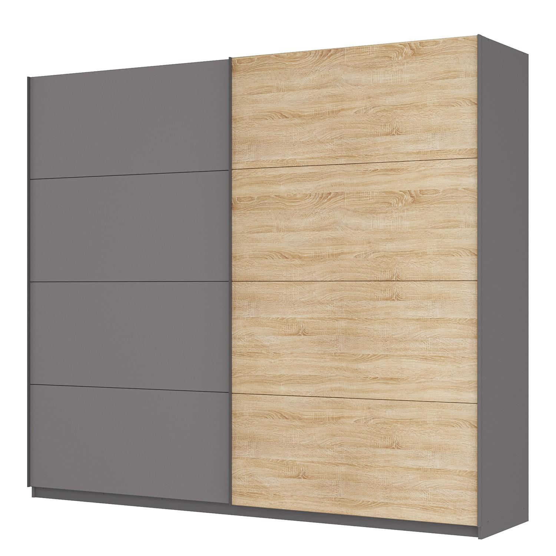 goedkoop Zweefdeurkast Skøp Grafietkleurig Sonoma eikenhouten look spiegel 270cm 2 deurs 236cm Premium Skop