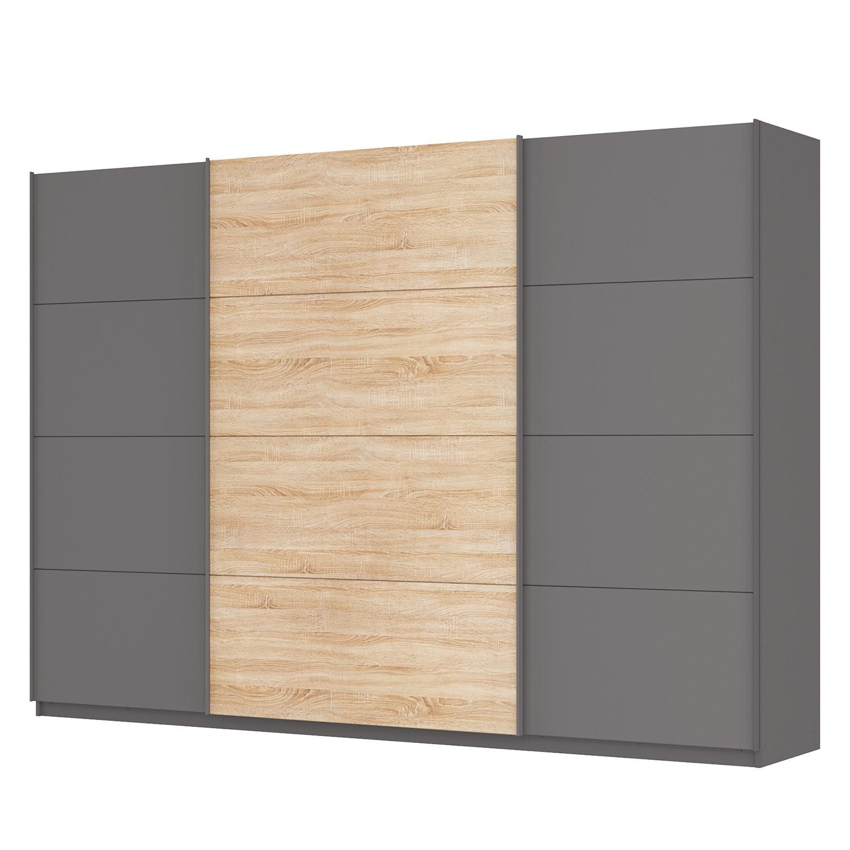 goedkoop Zweefdeurkast Skøp Grafietkleurig Sonoma eikenhouten look spiegel 315cm 3 deurs 222cm Premium Skop