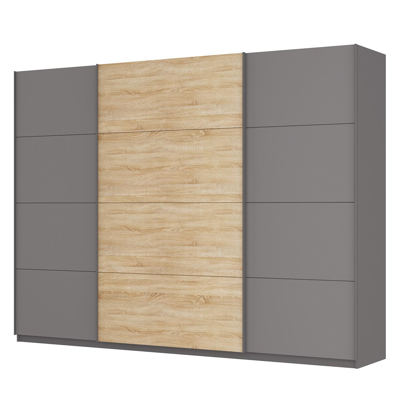 goedkoop Zweefdeurkast Skøp Grafietkleurig Sonoma eikenhouten look spiegel 315cm 3 deurs 236cm Basic Skop