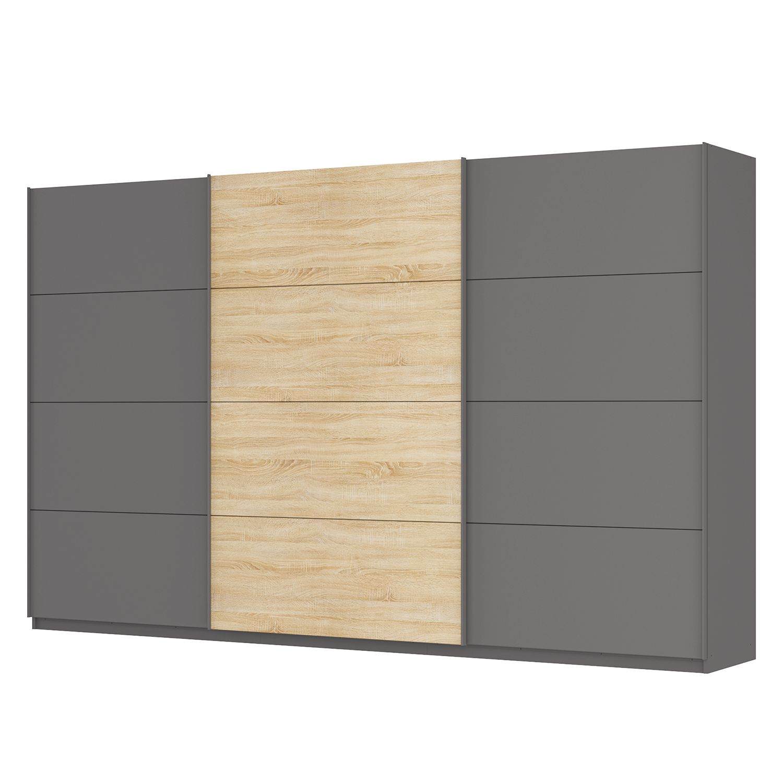 goedkoop Zweefdeurkast Skøp Grafietkleurig Sonoma eikenhouten look spiegel 360cm 3 deurs 222cm Premium Skop