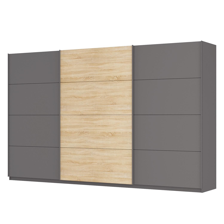 goedkoop Zweefdeurkast Skøp Grafietkleurig Sonoma eikenhouten look spiegel 360cm 3 deurs 222cm Comfort Skop