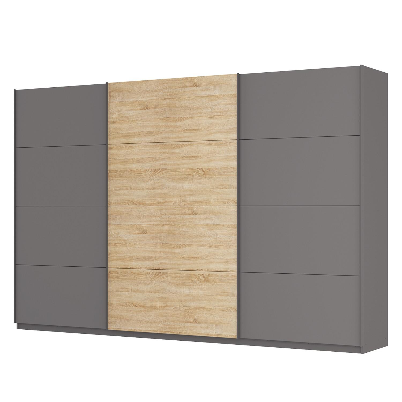 goedkoop Zweefdeurkast Skøp Grafietkleurig Sonoma eikenhouten look spiegel 360cm 3 deurs 236cm Basic Skop