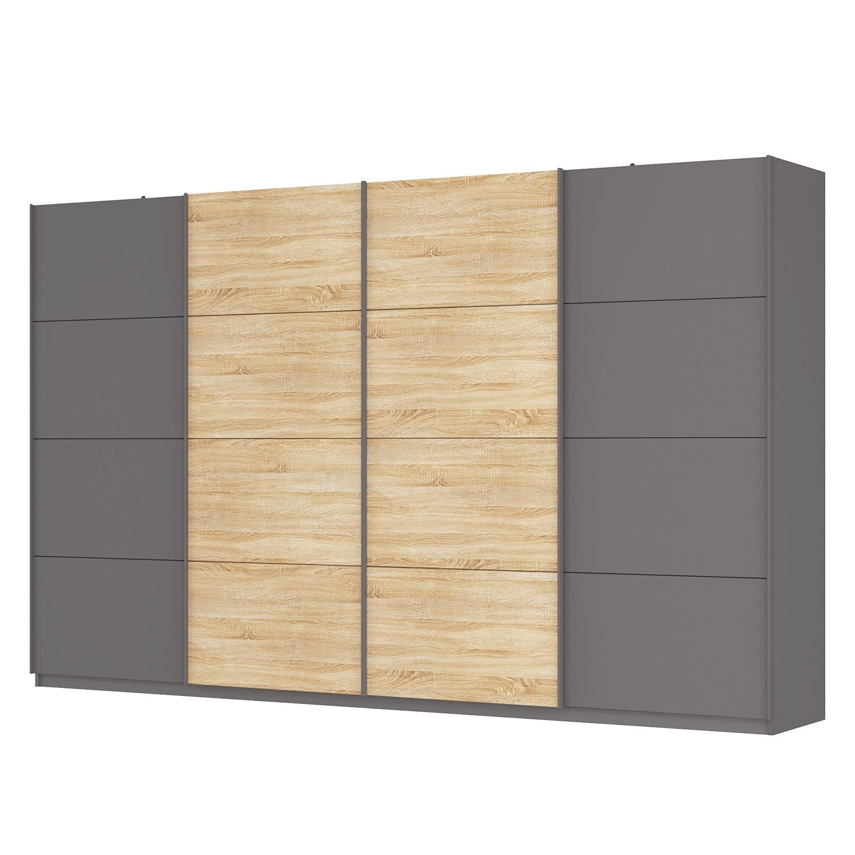 goedkoop Zweefdeurkast Skøp Grafietkleurig Sonoma eikenhouten look spiegel 360cm 4 deurs 222cm Classic Skop