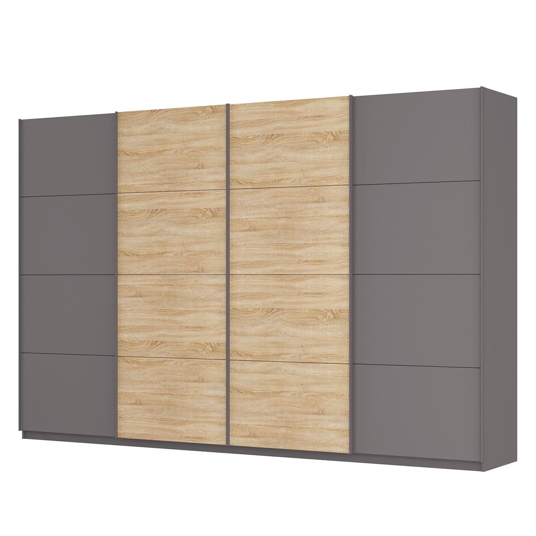 Schwebetürenschrank SKØP - Graphit / Eiche Sonoma Dekor - 360 cm (4-türig) - 236 cm - Premium