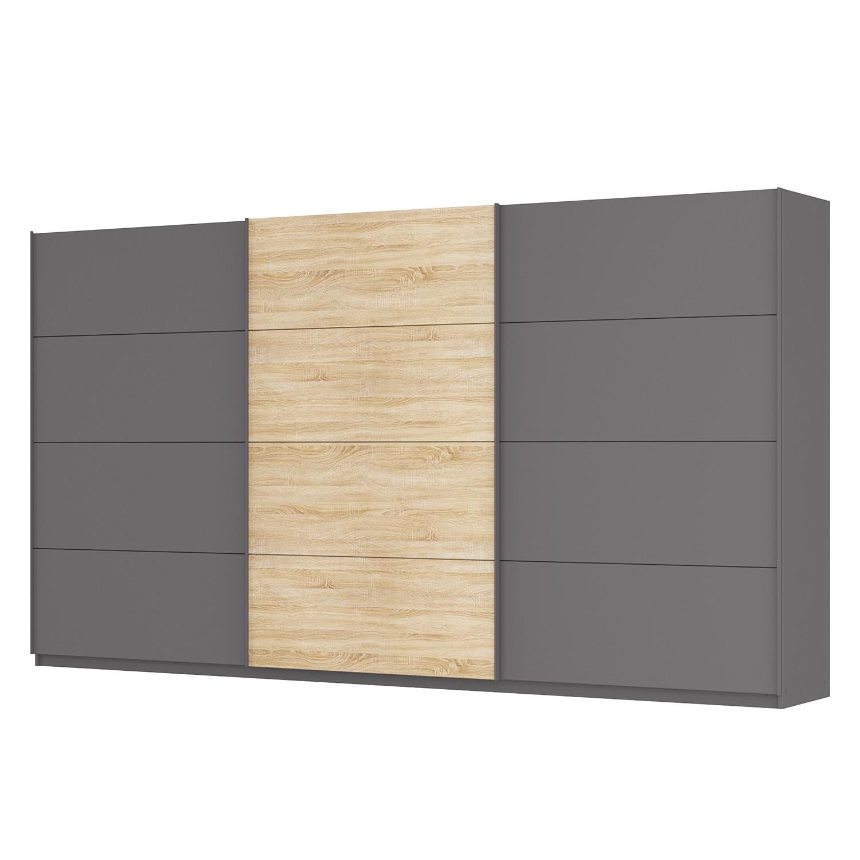 goedkoop Zweefdeurkast Skøp Grafietkleurig Sonoma eikenhouten look spiegel 405cm 3 deurs 222cm Classic Skop