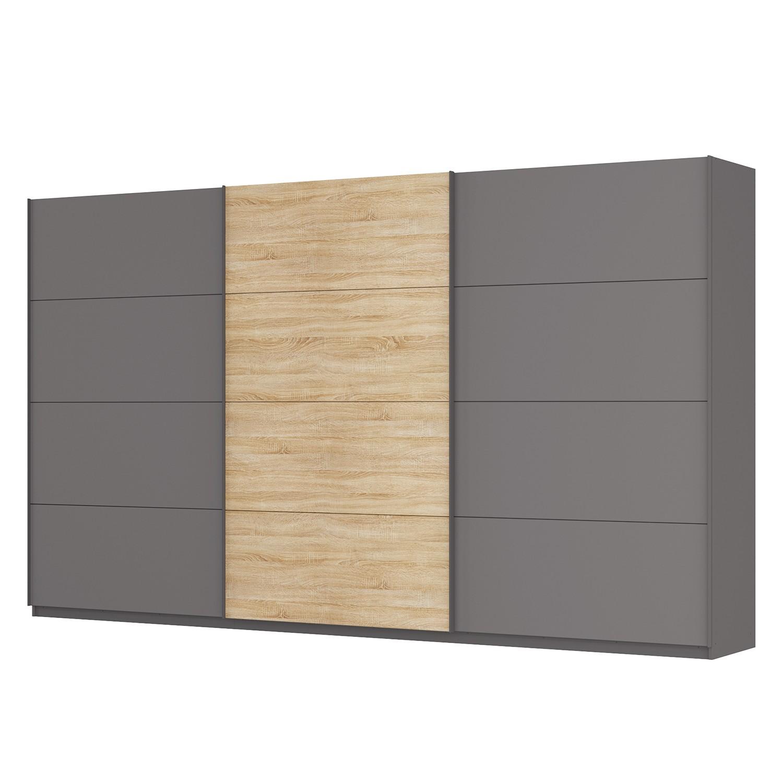 goedkoop Zweefdeurkast Skøp Grafietkleurig Sonoma eikenhouten look spiegel 405cm 3 deurs 236cm Premium Skop