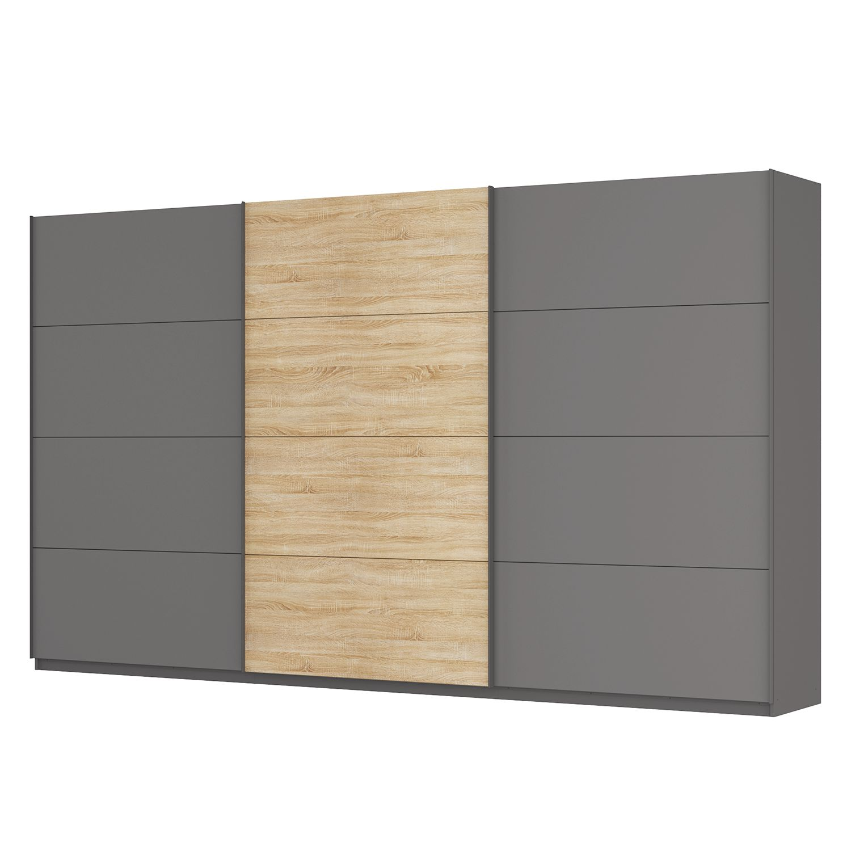 goedkoop Zweefdeurkast Skøp Grafietkleurig Sonoma eikenhouten look spiegel 405cm 3 deurs 236cm Classic Skop