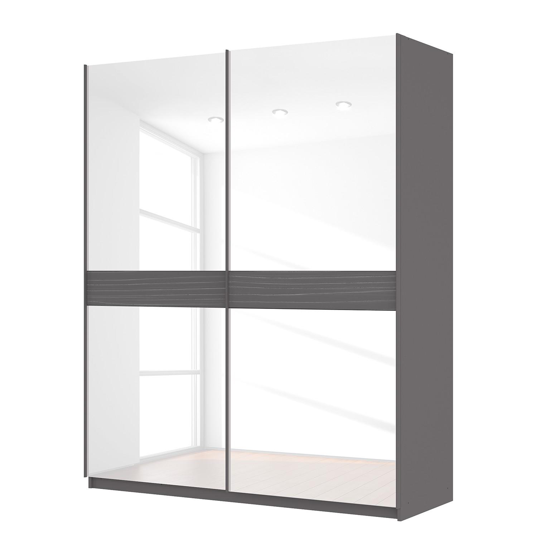 goedkoop Zweefdeurkast Skøp grafietkleurig wit glas 181cm 2 deurs 222cm Classic Skop