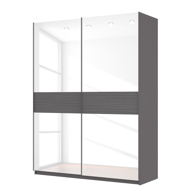 goedkoop Zweefdeurkast Skøp grafietkleurig wit glas 181cm 2 deurs 236cm Comfort Skop