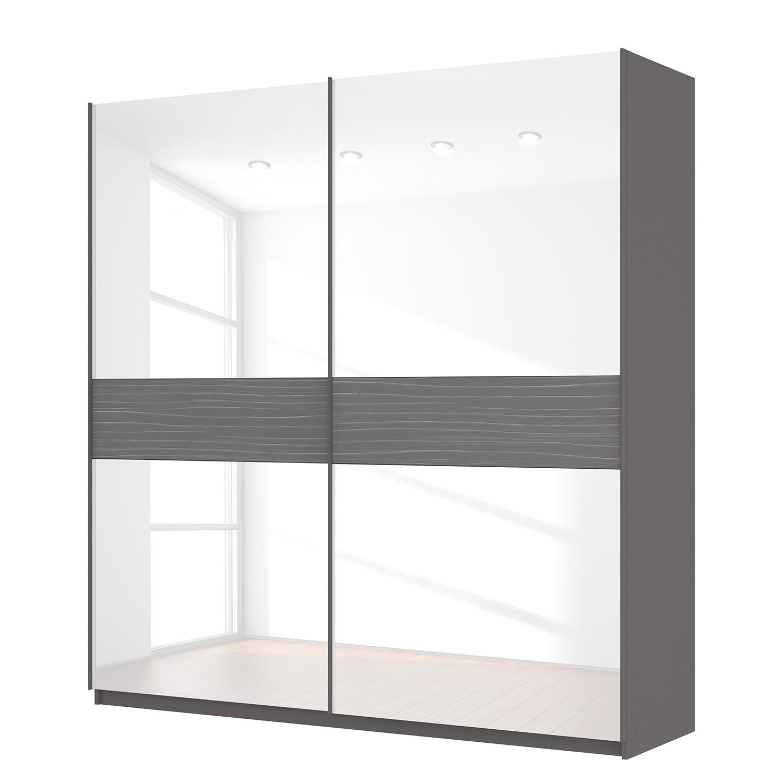 goedkoop Zweefdeurkast Skøp grafietkleurig wit glas 225cm 2 deurs 236cm Premium Skop