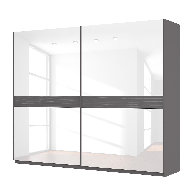 goedkoop Zweefdeurkast Skøp grafietkleurig wit glas 270cm 2 deurs 222cm Basic Skop