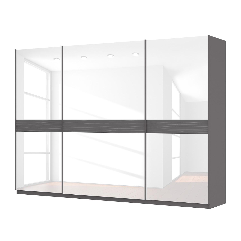 goedkoop Zweefdeurkast Skøp grafietkleurig wit glas 315cm 3 deurs 222cm Premium Skop