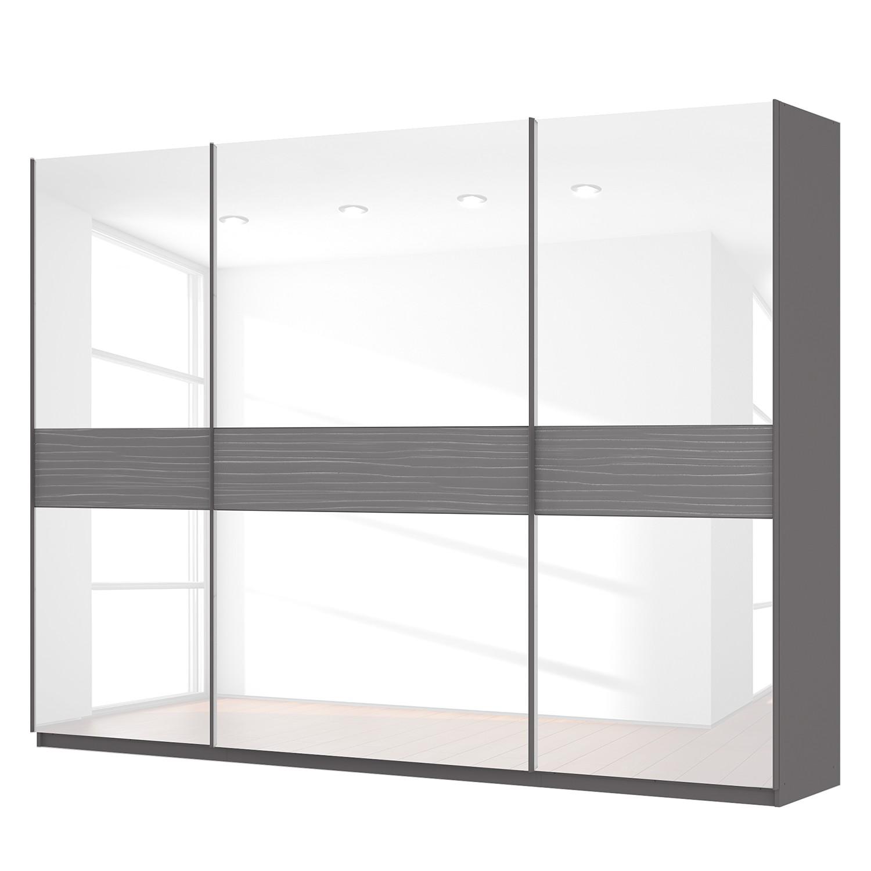 goedkoop Zweefdeurkast Skøp grafietkleurig wit glas 315cm 3 deurs 236cm Basic Skop