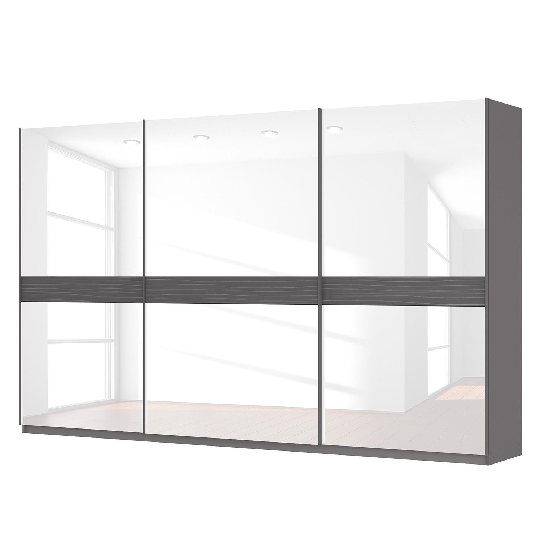goedkoop Zweefdeurkast Skøp grafietkleurig wit glas 360cm 3 deurs 222cm Comfort Skop