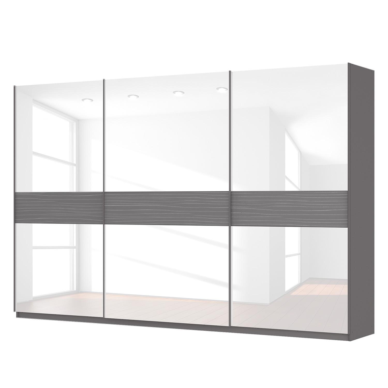 goedkoop Zweefdeurkast Skøp grafietkleurig wit glas 360cm 3 deurs 236cm Classic Skop