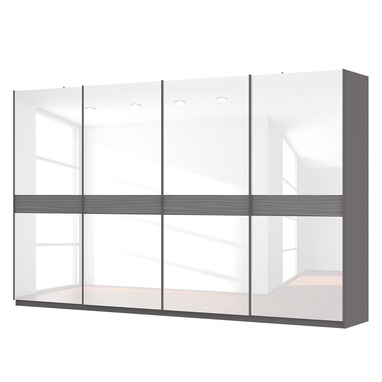 goedkoop Zweefdeurkast Skøp grafietkleurig wit glas 360cm 4 deurs 222cm Classic Skop