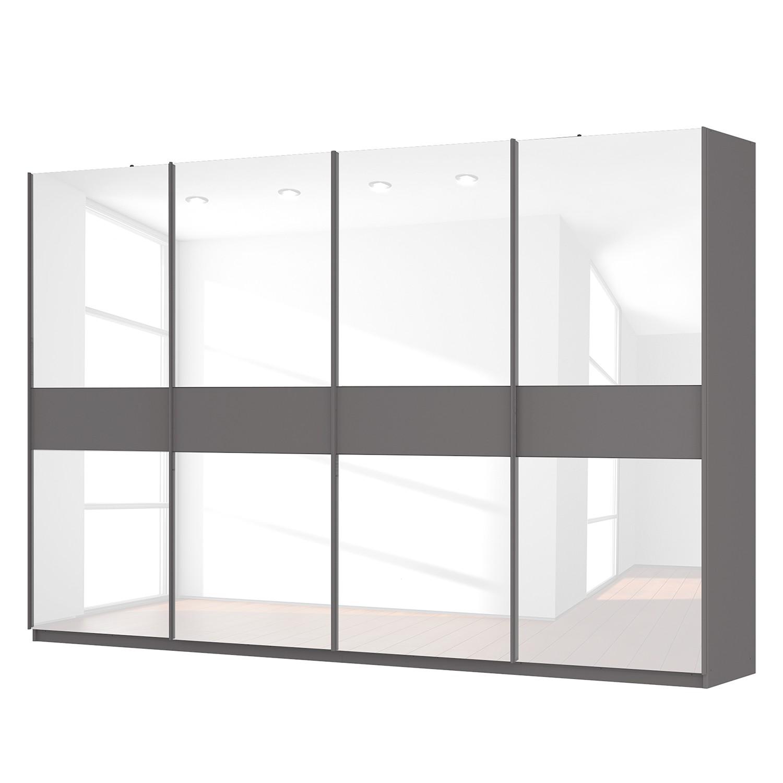 goedkoop Zweefdeurkast Skøp grafietkleurig wit glas 360cm 4 deurs 236cm Classic Skop