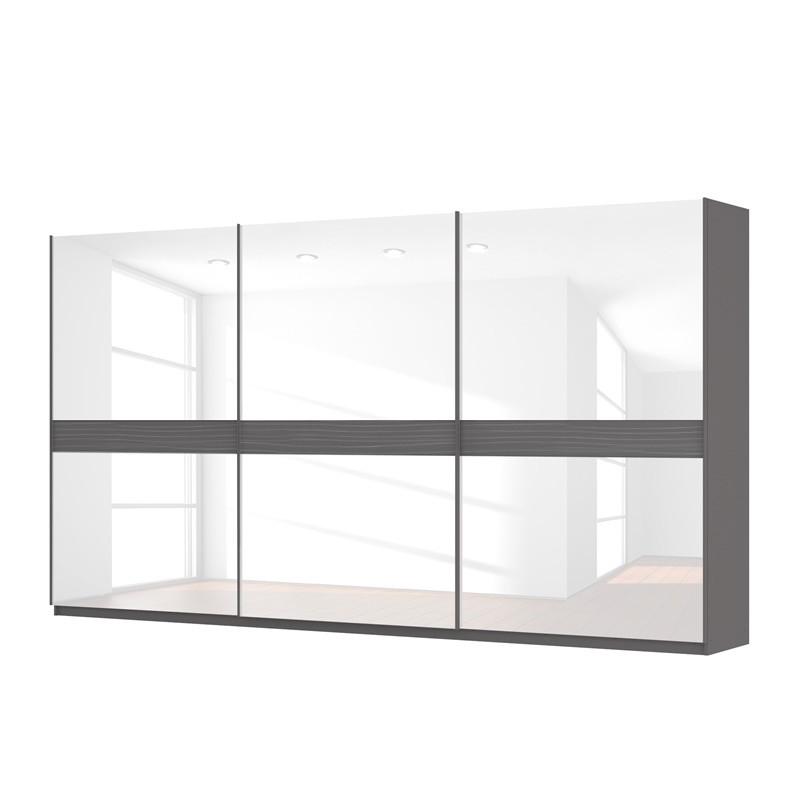 goedkoop Zweefdeurkast Skøp grafietkleurig wit glas 405cm 3 deurs 222cm Basic Skop