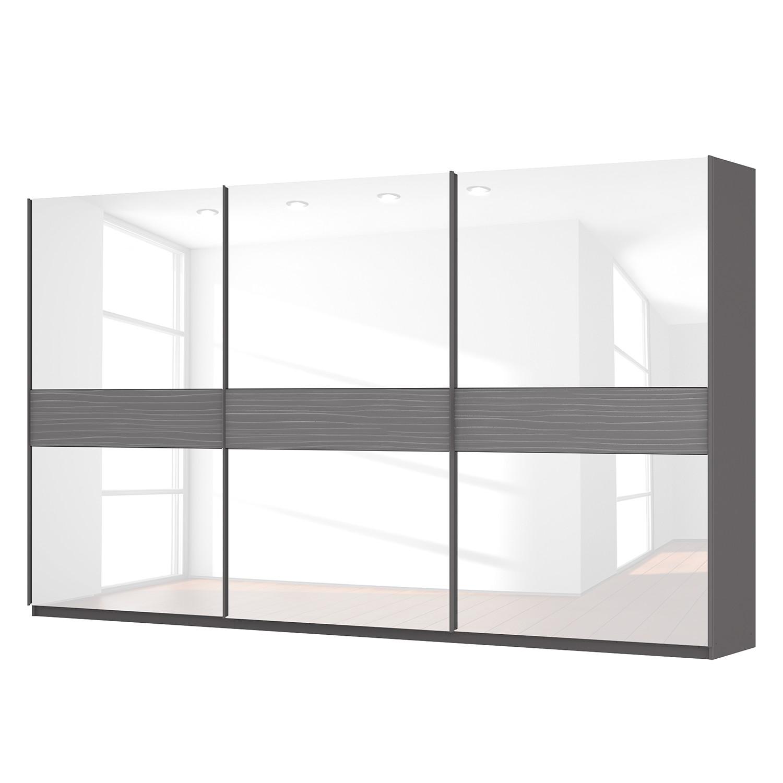 goedkoop Zweefdeurkast Skøp grafietkleurig wit glas 405cm 3 deurs 236cm Premium Skop
