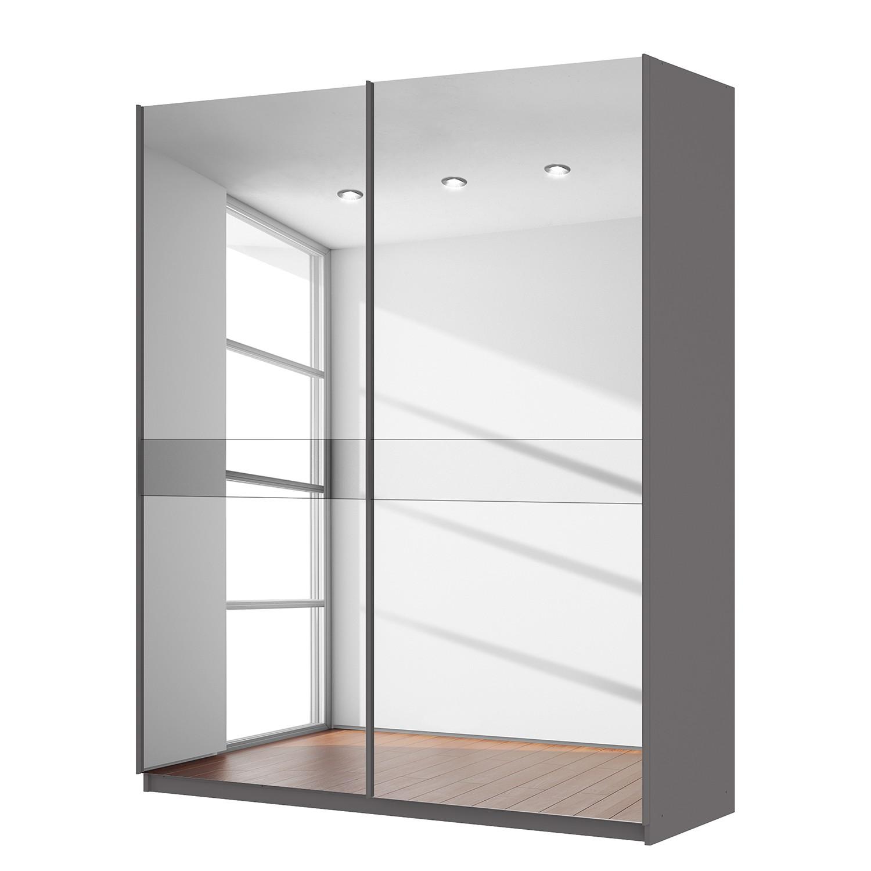 goedkoop Zweefdeurkast Skøp grafietkleurig donker spiegelglas 181cm 2 deurs 222cm Comfort Skop