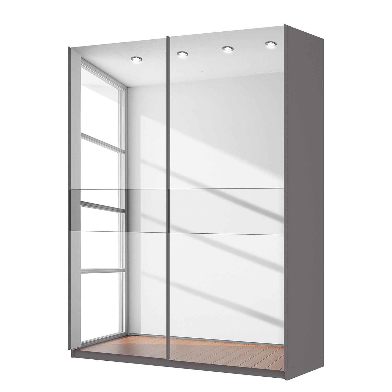 goedkoop Zweefdeurkast Skøp grafietkleurig donker spiegelglas 181cm 2 deurs 236cm Comfort Skop