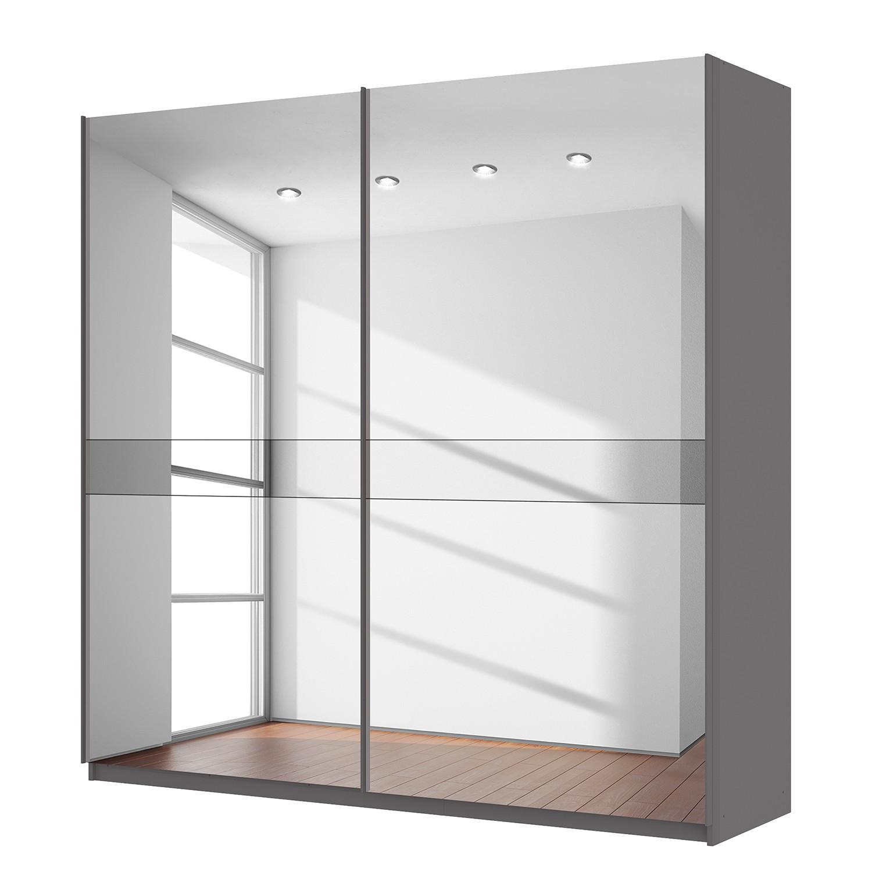 goedkoop Zweefdeurkast Skøp grafietkleurig donker spiegelglas 225cm 2 deurs 222cm Basic Skop