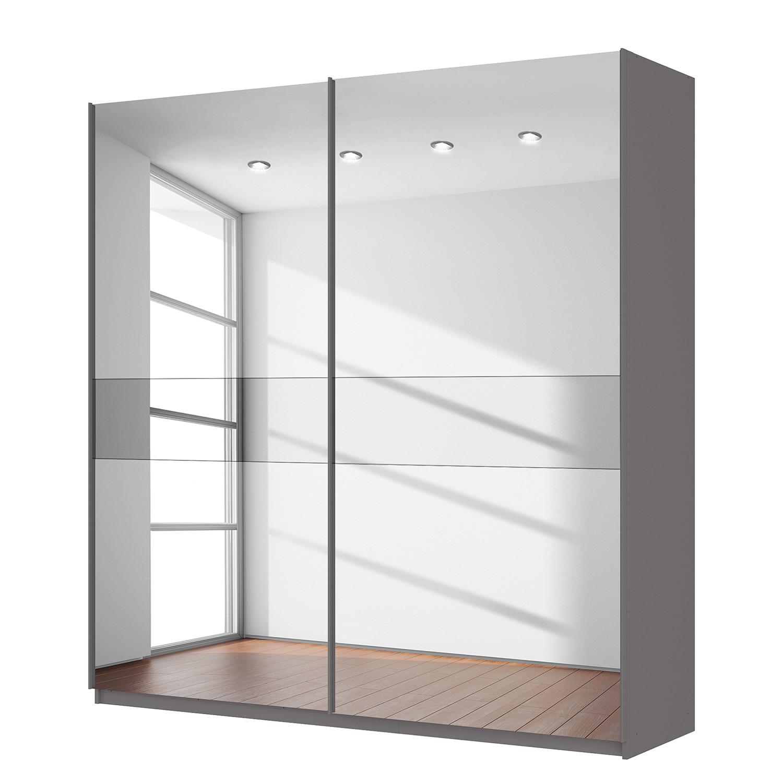 goedkoop Zweefdeurkast Skøp grafietkleurig donker spiegelglas 225cm 2 deurs 236cm Basic Skop