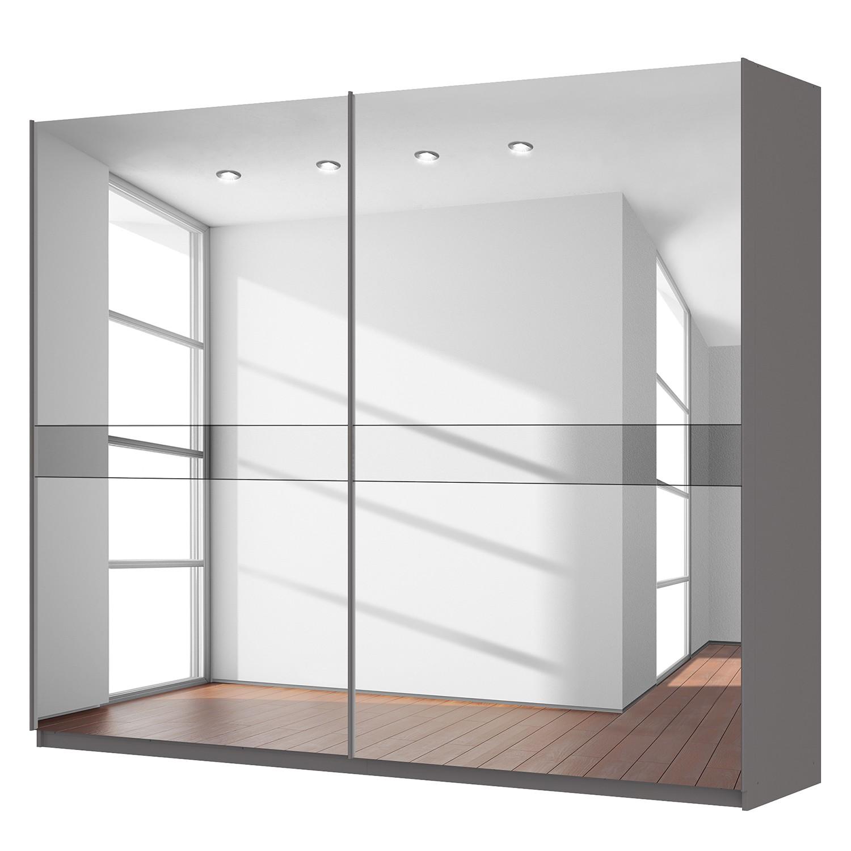 goedkoop Zweefdeurkast Skøp grafietkleurig donker spiegelglas 270cm 2 deurs 222cm Classic Skop