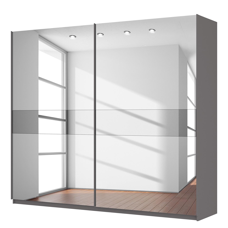 goedkoop Zweefdeurkast Skøp grafietkleurig donker spiegelglas 270cm 2 deurs 236cm Basic Skop