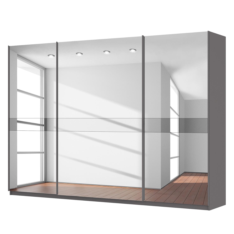 goedkoop Zweefdeurkast Skøp grafietkleurig donker spiegelglas 315cm 3 deurs 222cm Comfort Skop