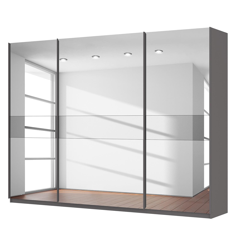 goedkoop Zweefdeurkast Skøp grafietkleurig donker spiegelglas 315cm 3 deurs 236cm Basic Skop
