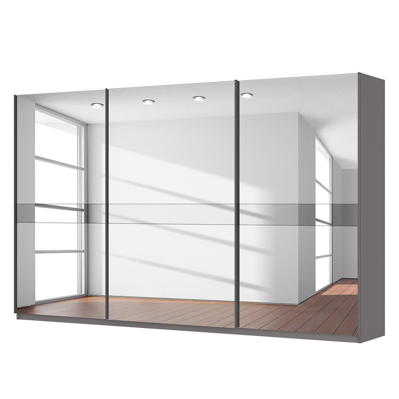 goedkoop Zweefdeurkast Skøp grafietkleurig donker spiegelglas 360cm 3 deurs 222cm Basic Skop