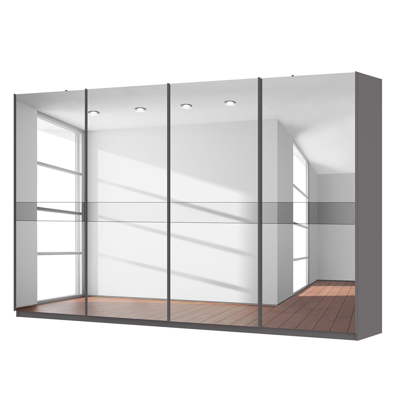 goedkoop Zweefdeurkast Skøp grafietkleurig donker spiegelglas 360cm 4 deurs 222cm Basic Skop