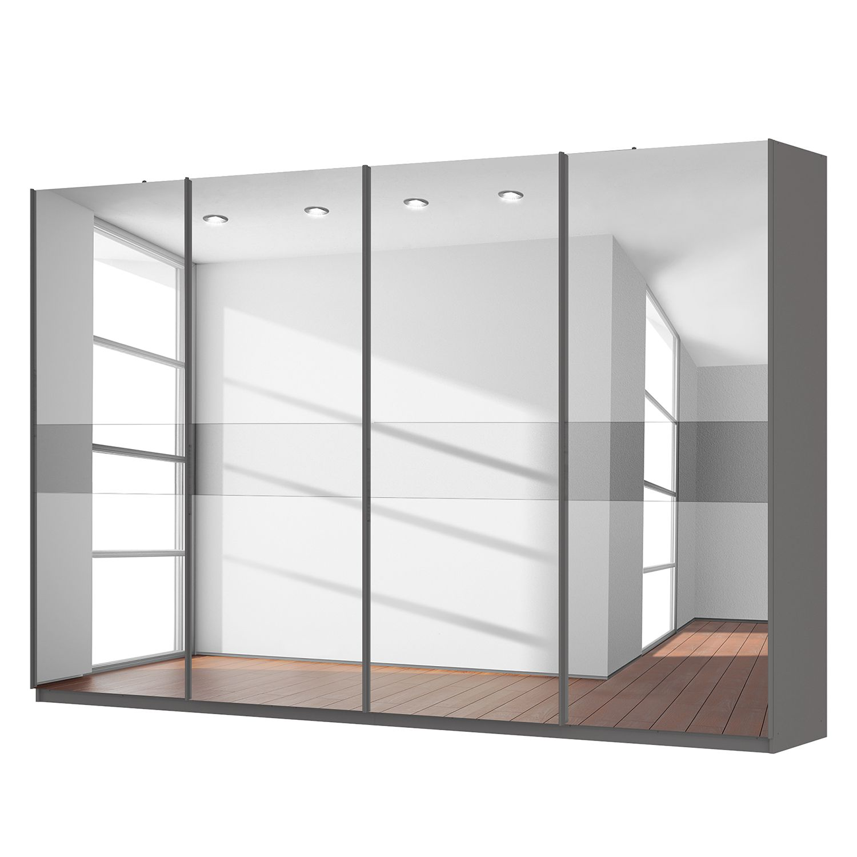 goedkoop Zweefdeurkast Skøp grafietkleurig donker spiegelglas 360cm 4 deurs 236cm Comfort Skop