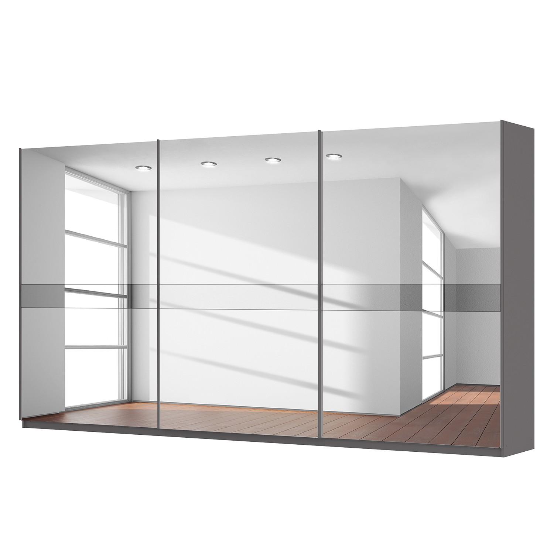 goedkoop Zweefdeurkast Skøp grafietkleurig donker spiegelglas 405cm 3 deurs 222cm Premium Skop