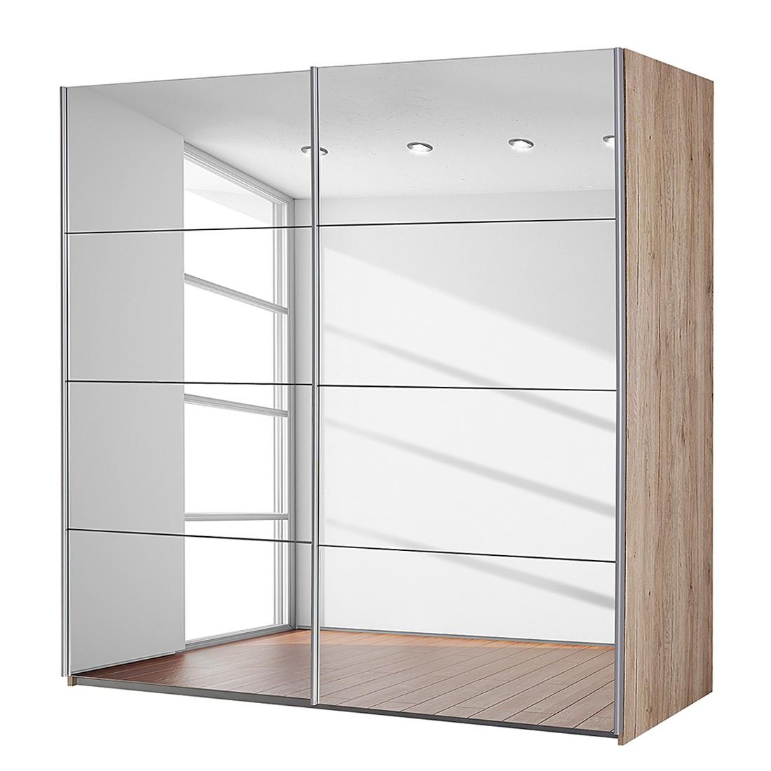 goedkoop Zweefdeurkast Subito 2 spiegeldeuren Lichte San Remo eikenhouten look 136cm 2 deurs Rauch Packs