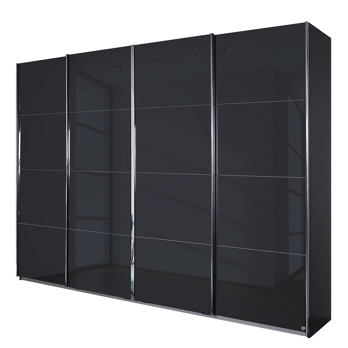 aa6 Zweefdeurkast Syncrono C I metallic grijs basaltkleurig glas 271 cm 4 deurs 230cm Rauch Packs