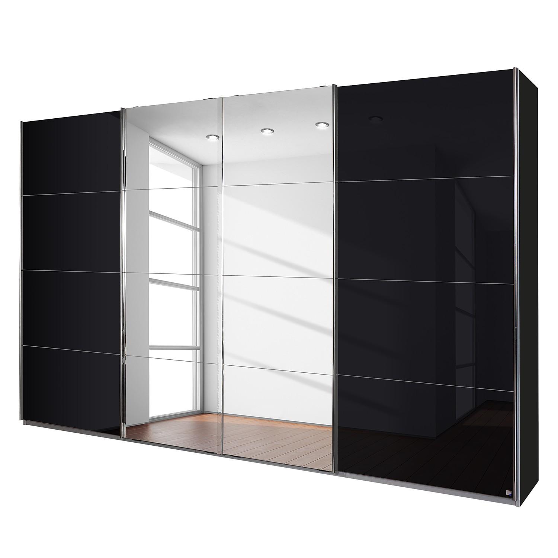 aa4 Zweefdeurkast Syncrono C I metallic grijs basaltkleurig glas 361 cm 4 deurs 230cm Rauch Packs