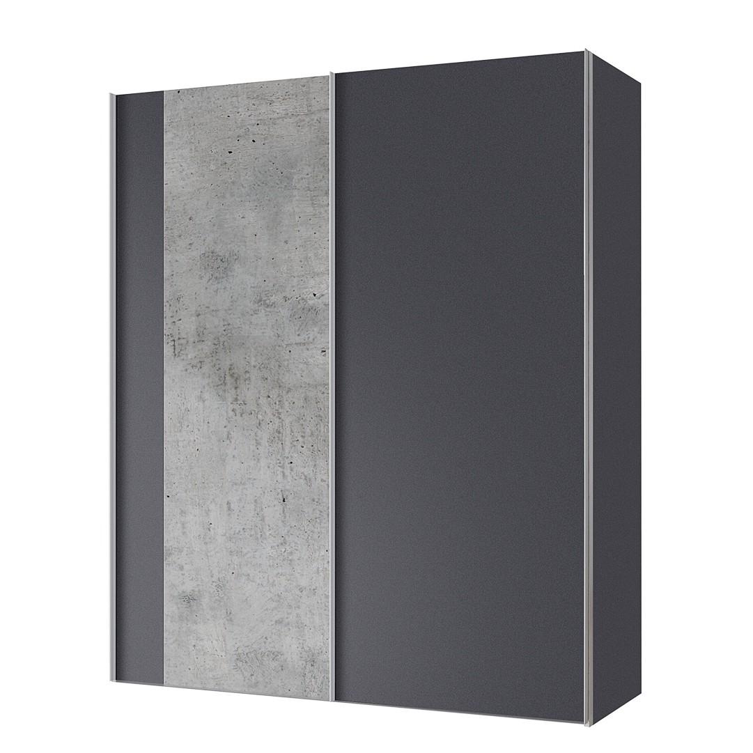 goedkoop Zweefdeurkast Cando Concrete look Grafiet 150cm 2 deurs Express Mobel